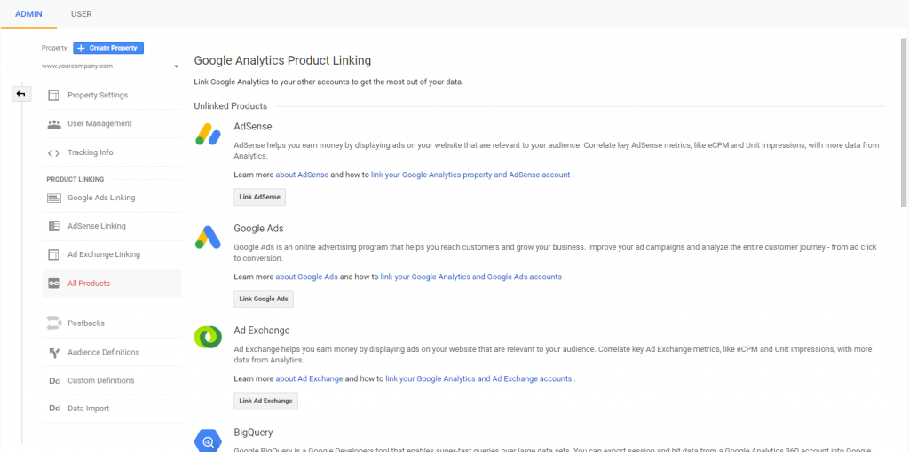 product linking in google analytics.