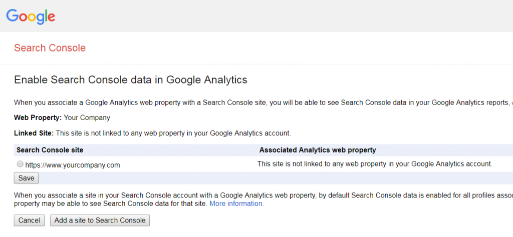 google search console linking in google analytics.