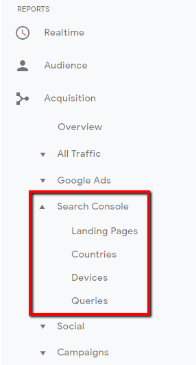 search console report in google analytics.