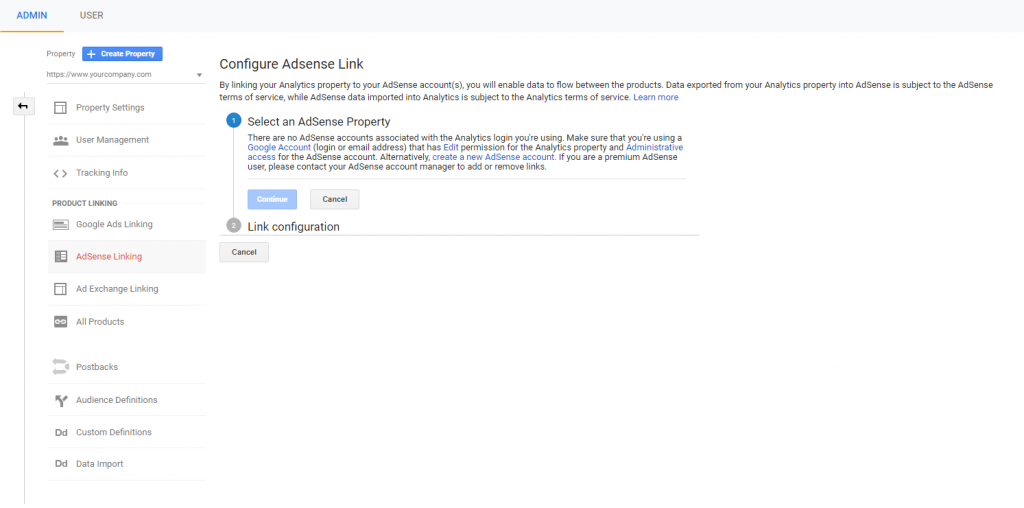 configuring adsense for google analytics.