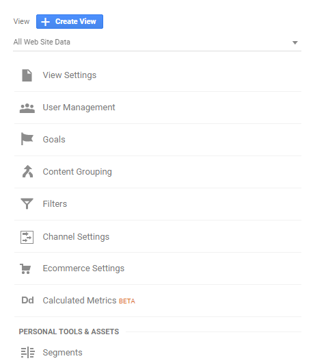 view-level settings in google analytics.