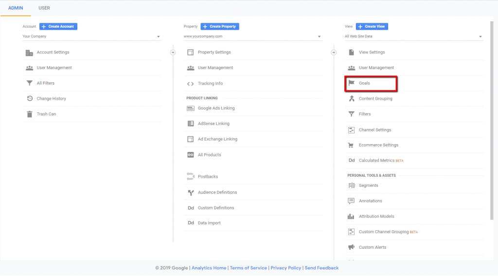 goals admin in google analytics.