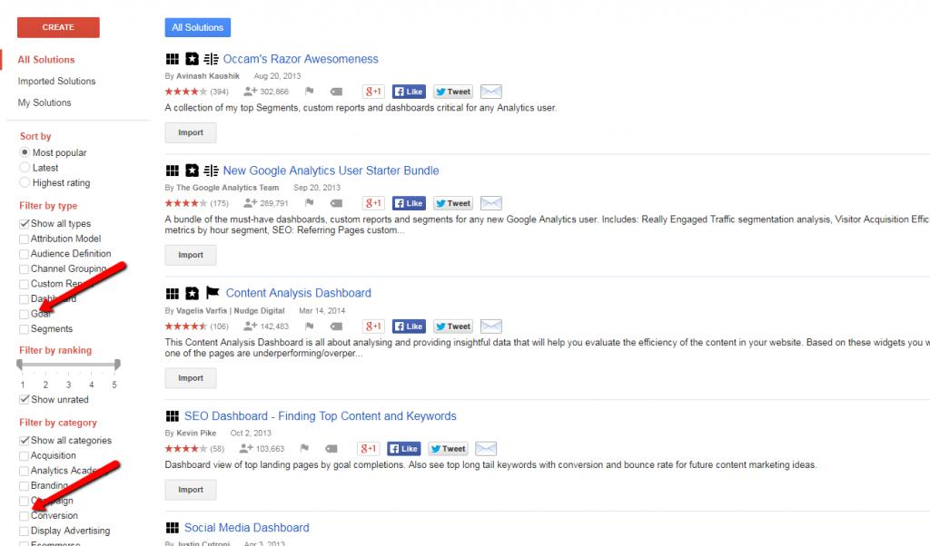 google analytics gallery filters.