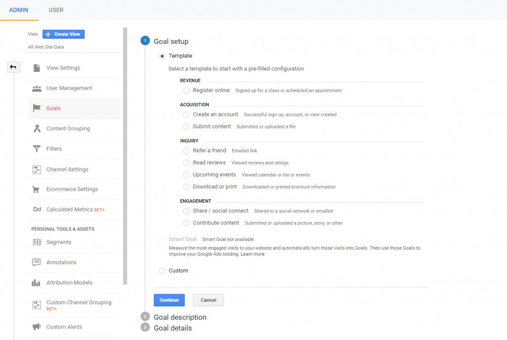 goal setup for google analytics.