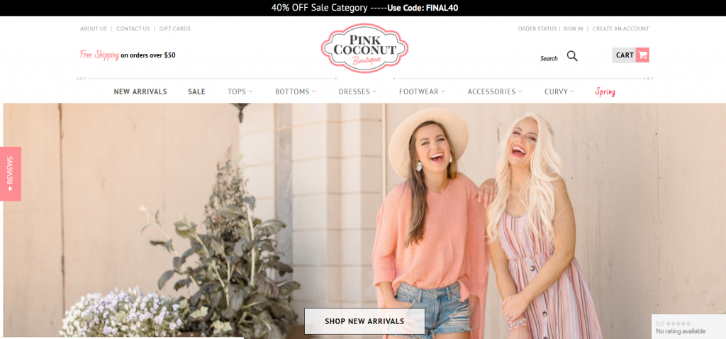 example of trendy fashion website.