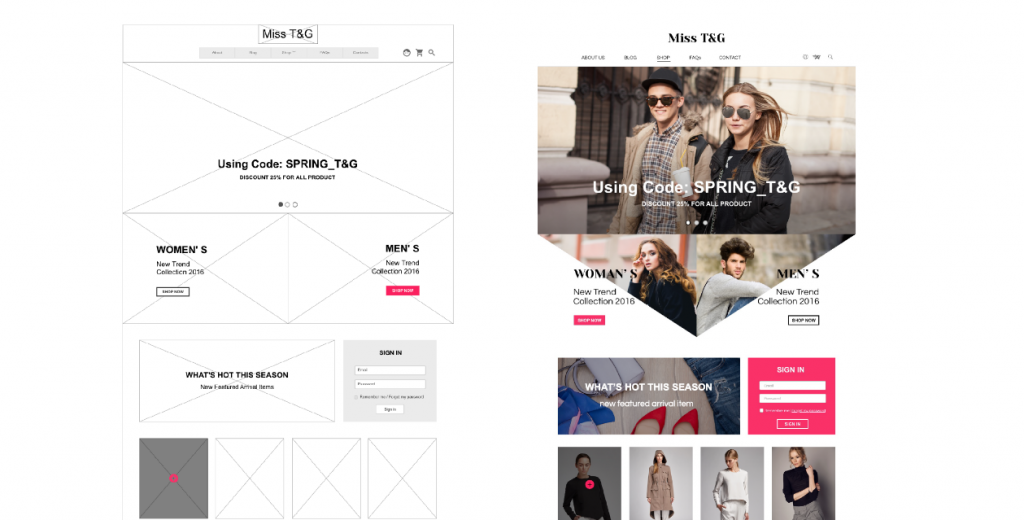 wireframes and site example for fashion ecommerce.