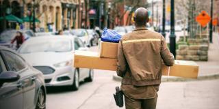 ups man delivering packages