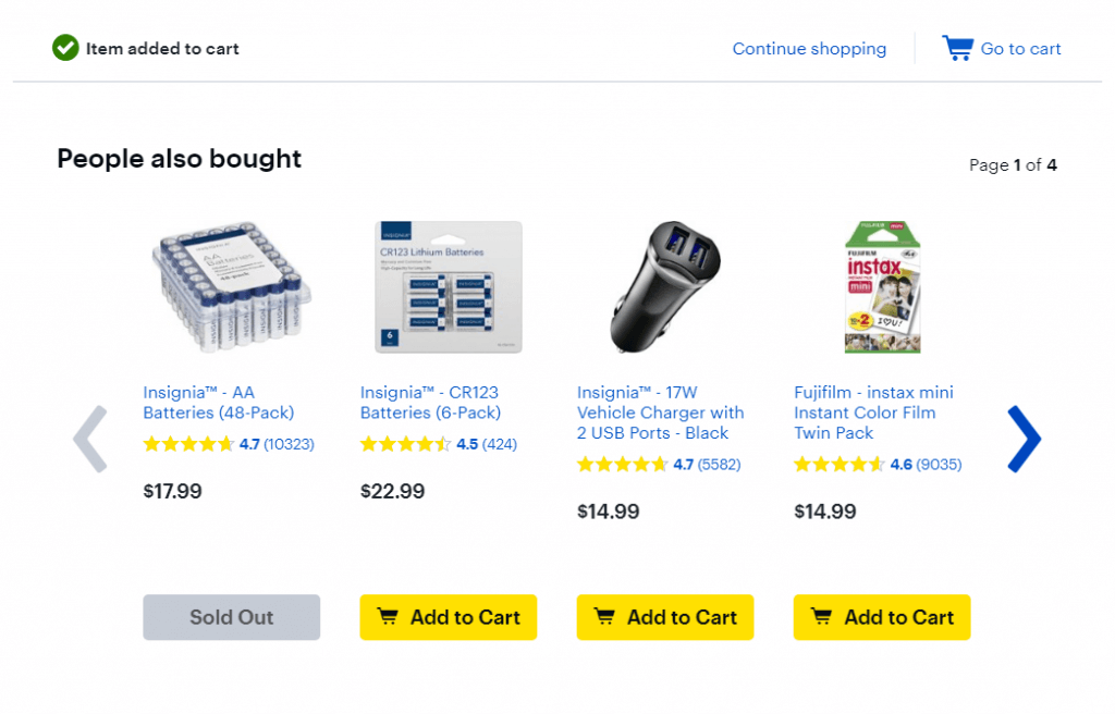 complementary product offering on best buy with batteries for a flashlight.