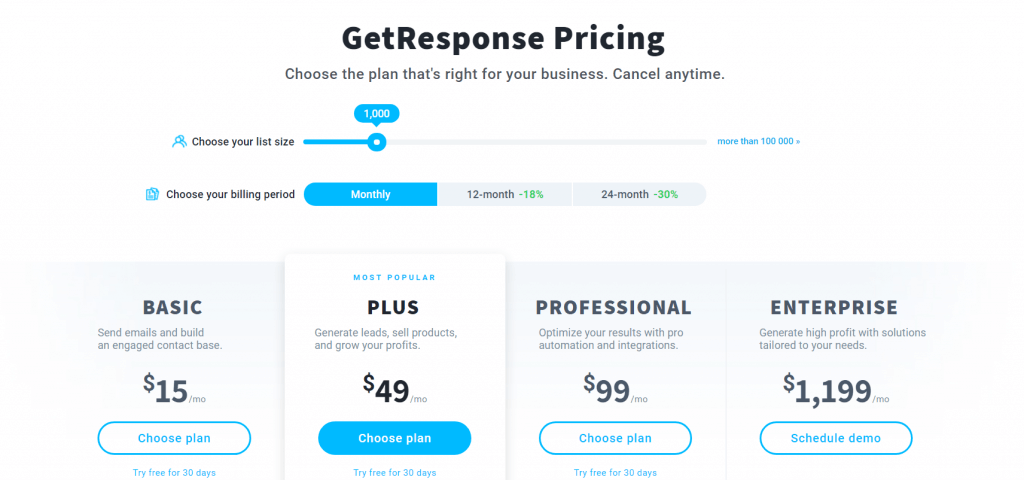 getresponse pricing page that offers an 18% annual discount.