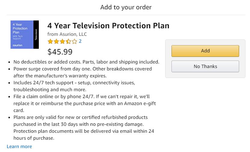 example of amazon protection plan.