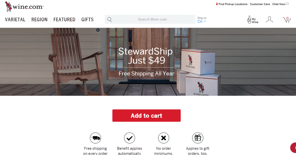 example of locking customer in with free shipping.
