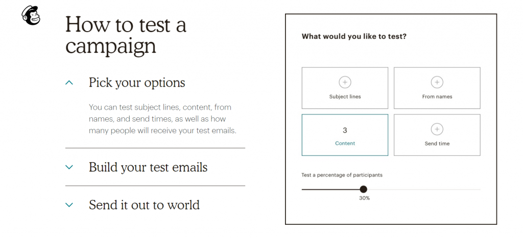 mailchimp example of email test options.