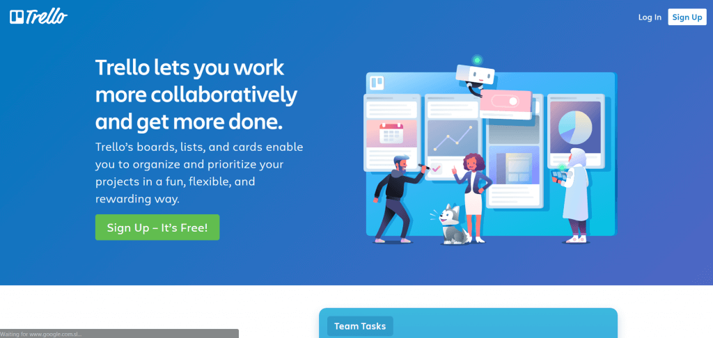 example of strong value proposition from trello homepage.