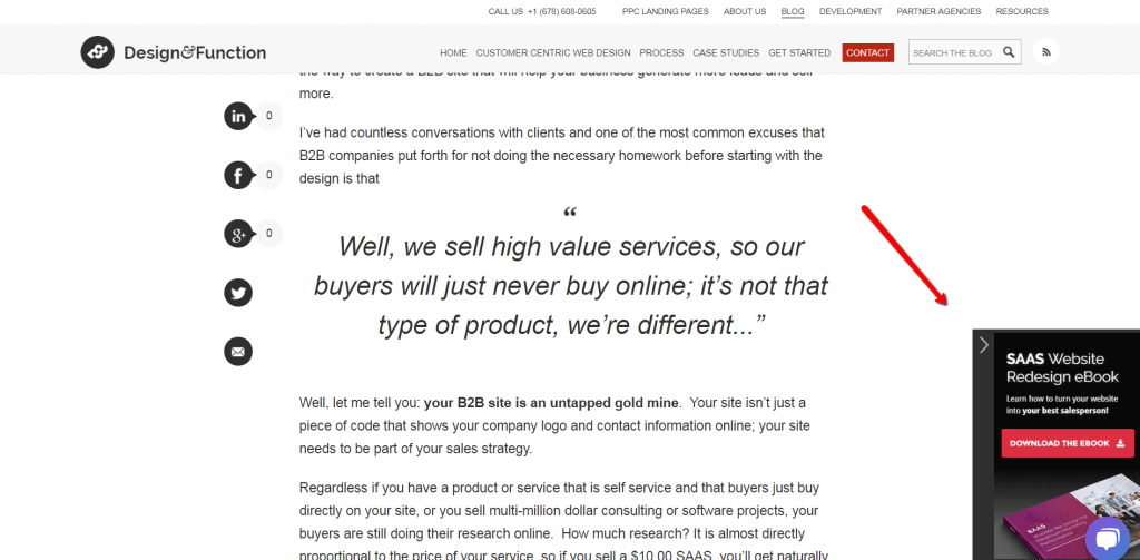 example of unobstrusive pop-up on b2b site.