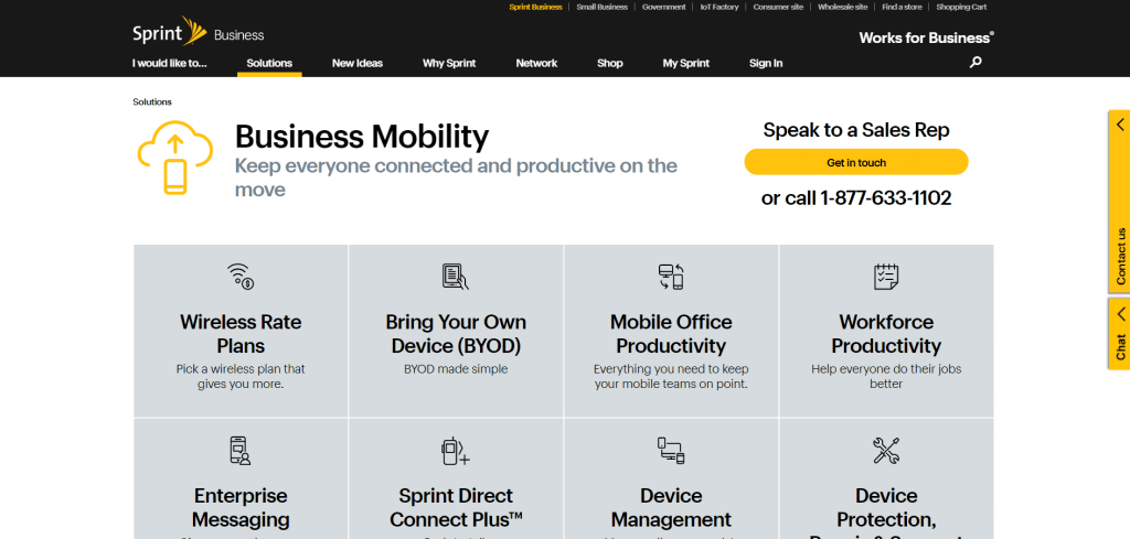 sprint business website with consistent, layered navigation design.