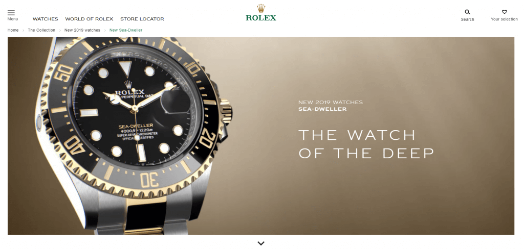 rolex website that looks expensive to sell an expensive product.