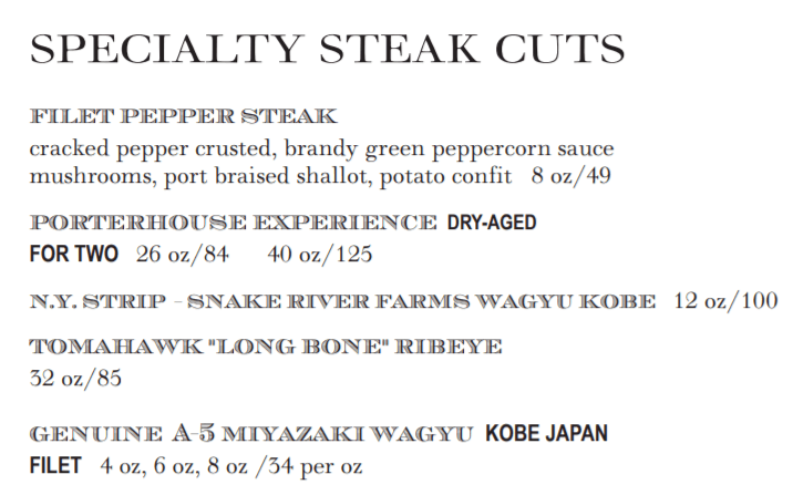 example of price anchoring on a menu.