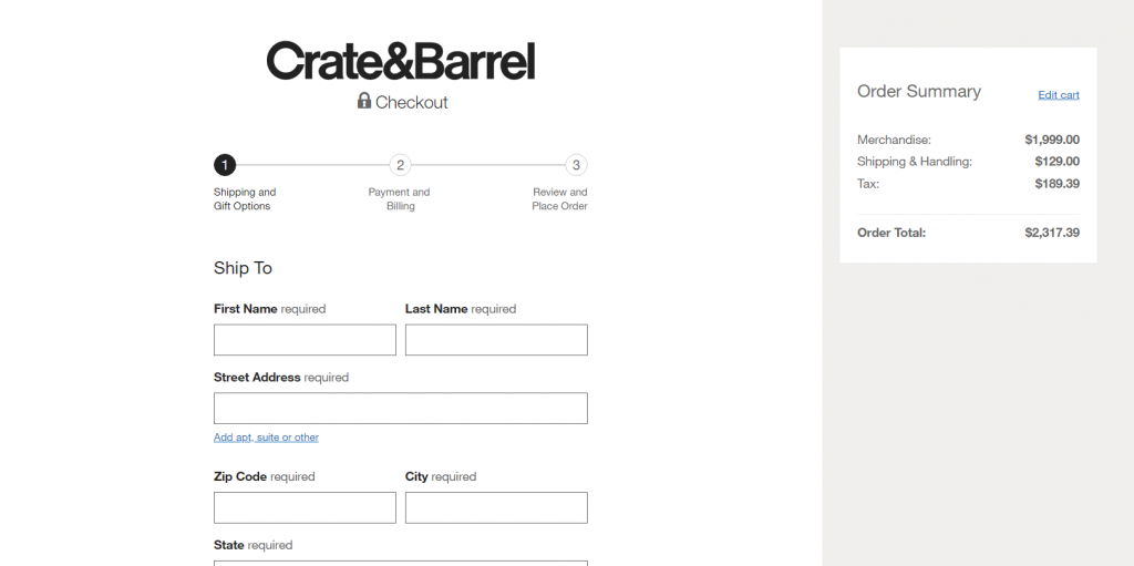 clear checkout process example.