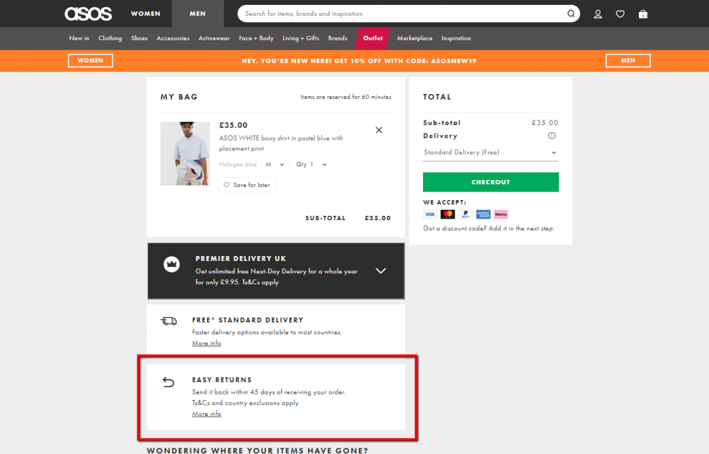 example of addressing uncertainty on checkout page.