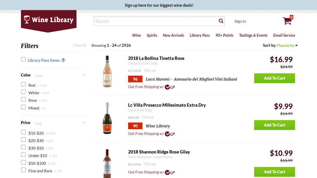 example of good filtering ability on a wine website.