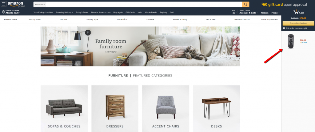 example of perpetually visible cart with product images.