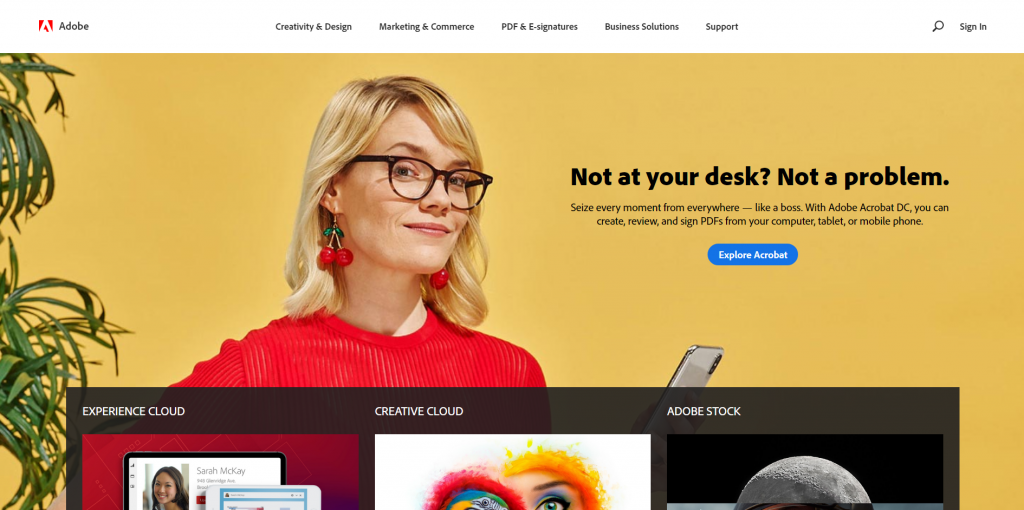 adobe homepage with a single offer (no carousel).