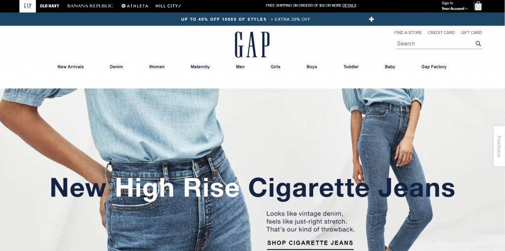 gap homepage focusing on a single offer.