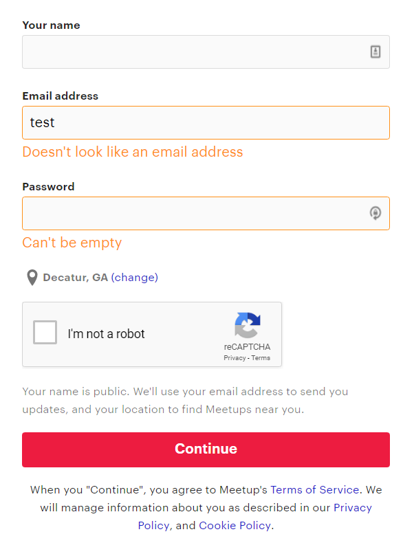 sign-up form with good error messages.