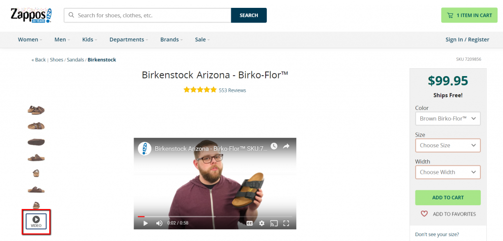 example of video to support product images.