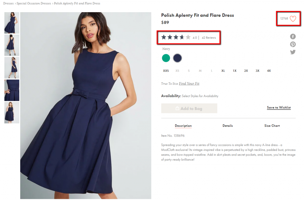 example of ecommerce product page using social proof.