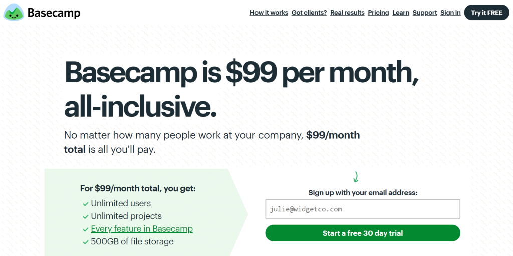 example of simple pricing page.