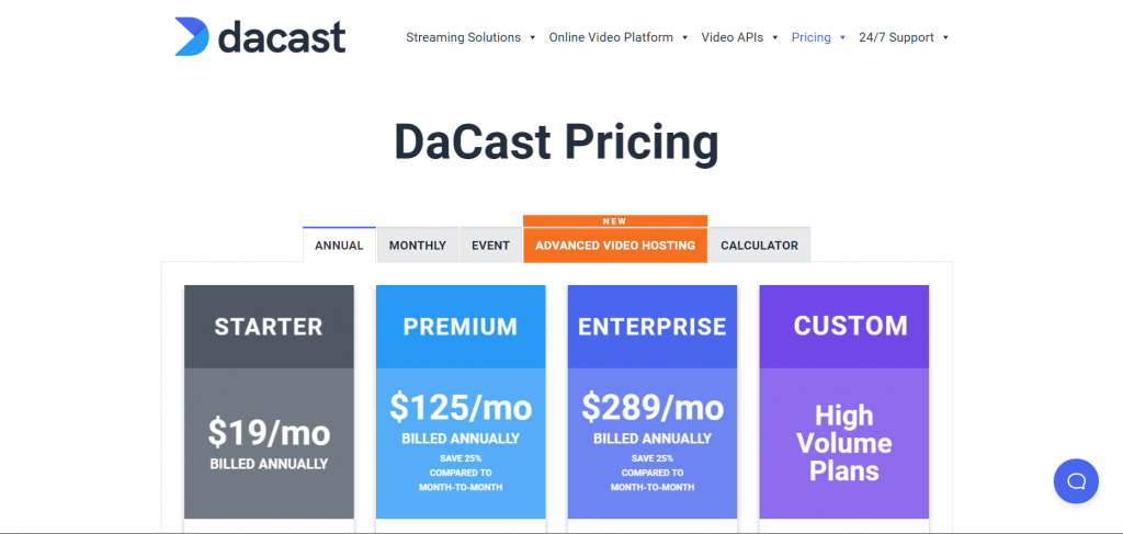 pricing page with generic names.