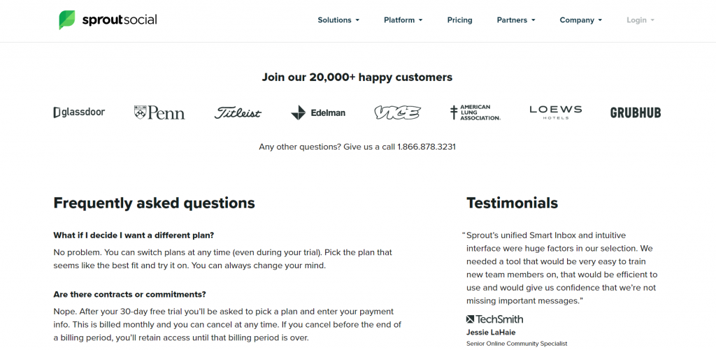 testimonials and company logos directly below pricing plans.