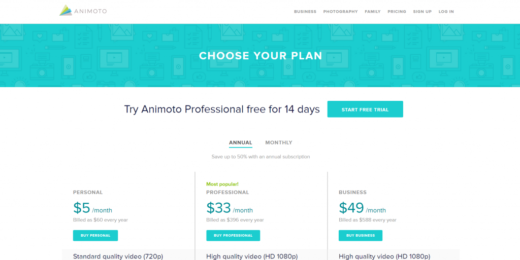 pricing page with three plans.