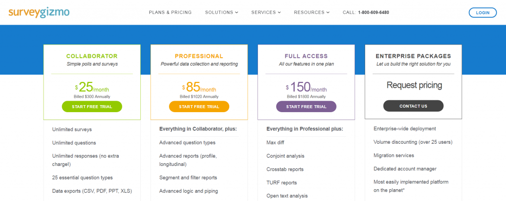 pricing page in which annual costs are divided into a monthly price.