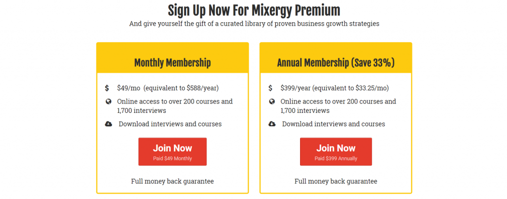 "use of ""join now"" as call to action on pricing page."