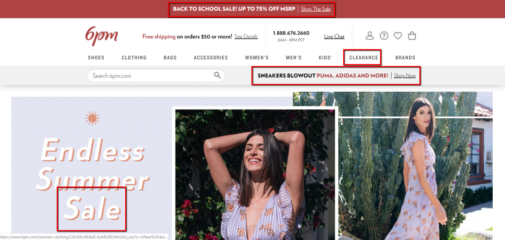 example of ecommerce site with clear sale sections.