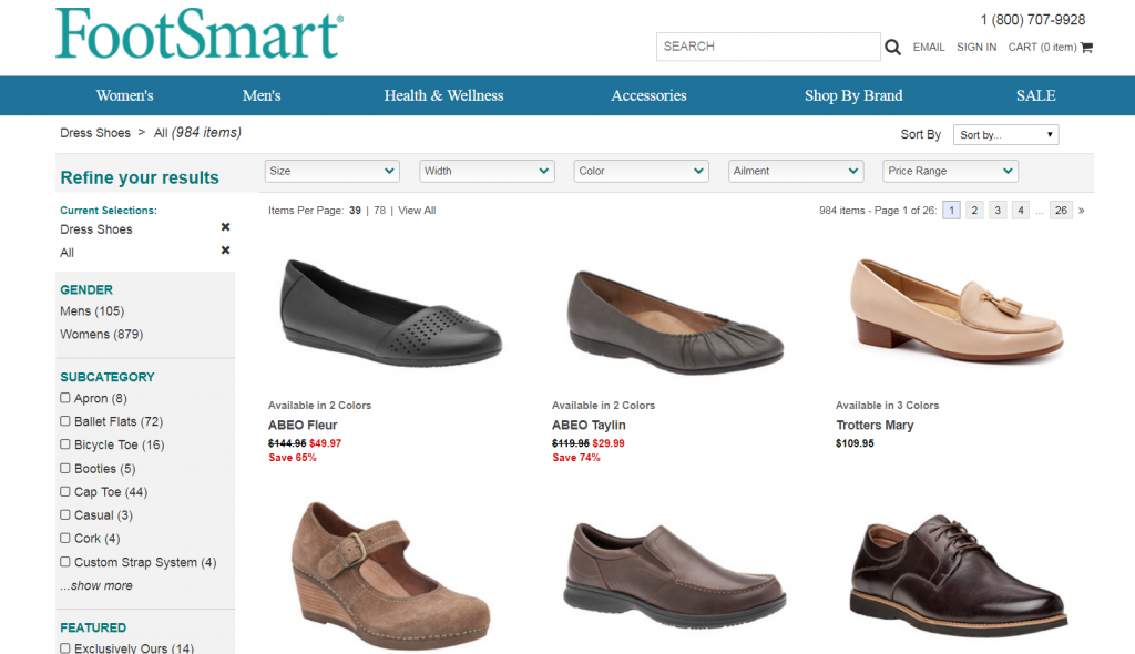 example of internal site search results from footsmart.