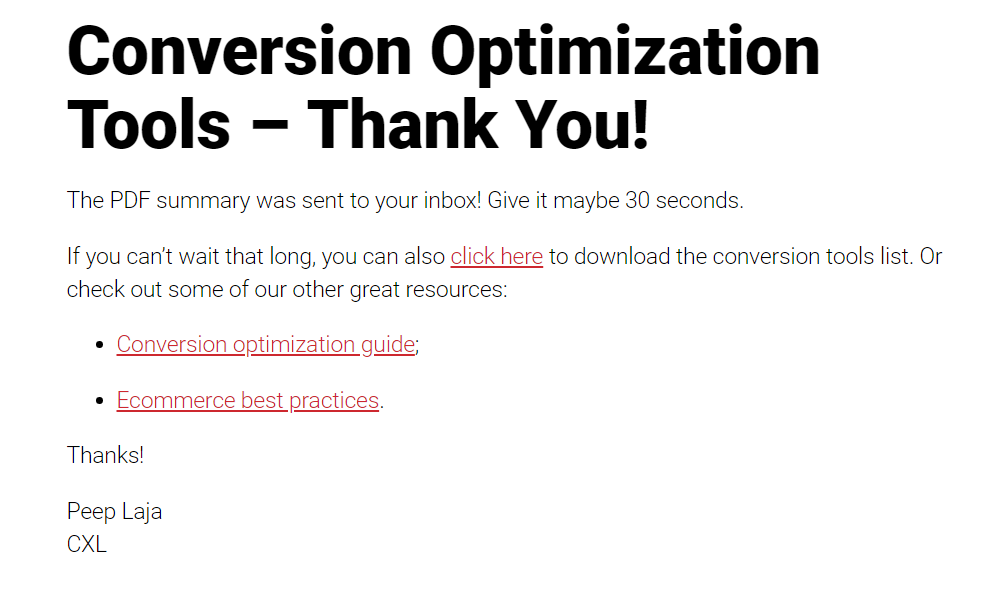 example of thank-you page that also serves as a destination url for a google analytics goal.