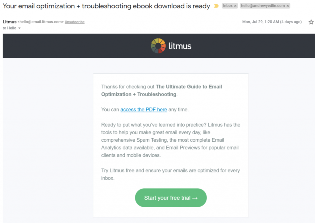 confirmation email from litmus.