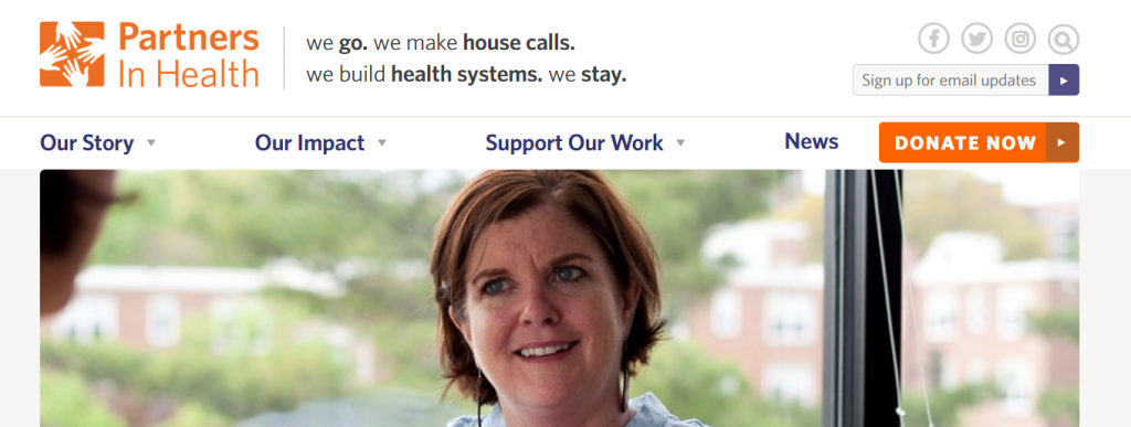 example of clear call to action on homepage.