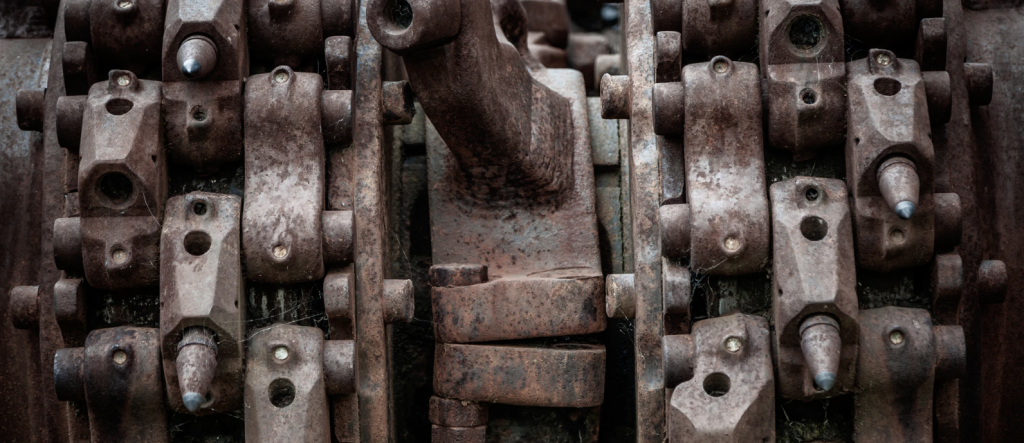 complex machine rusting out.