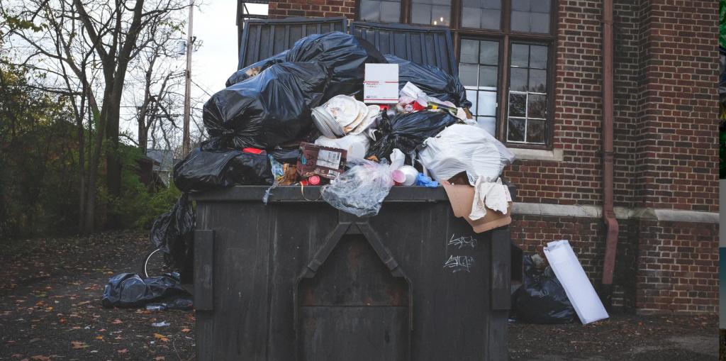 garbage overflowing from bin.