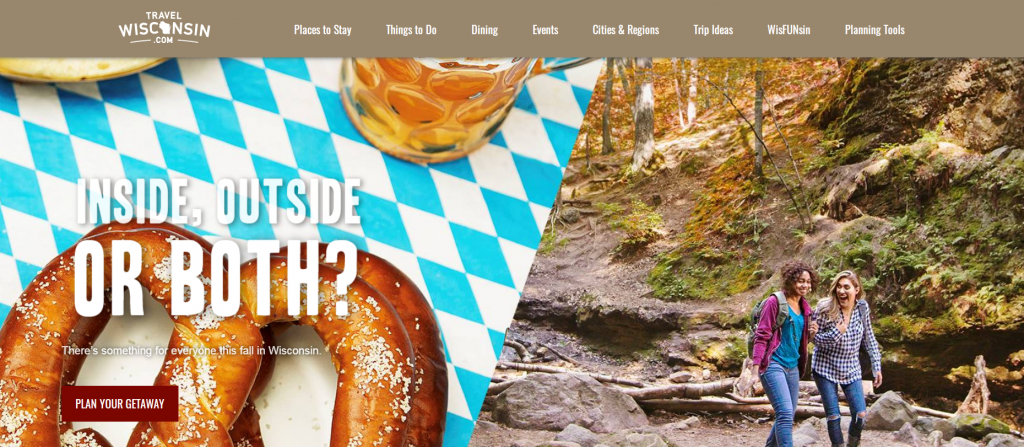example of a call to action that blends in with the background image.