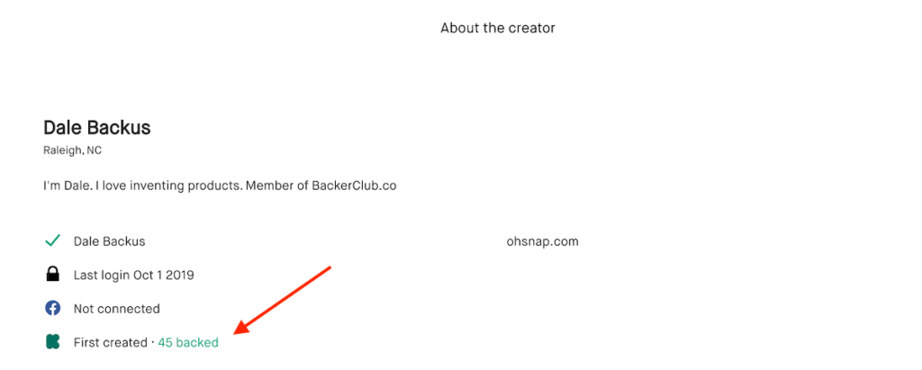 """""""About the creator"""" section on Kickstarter projects, indicating the number of backed projects."""