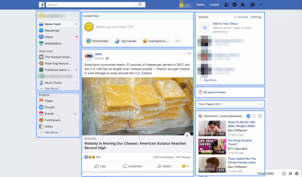 Screenshot showing how Facebook homepage loads in chunks.