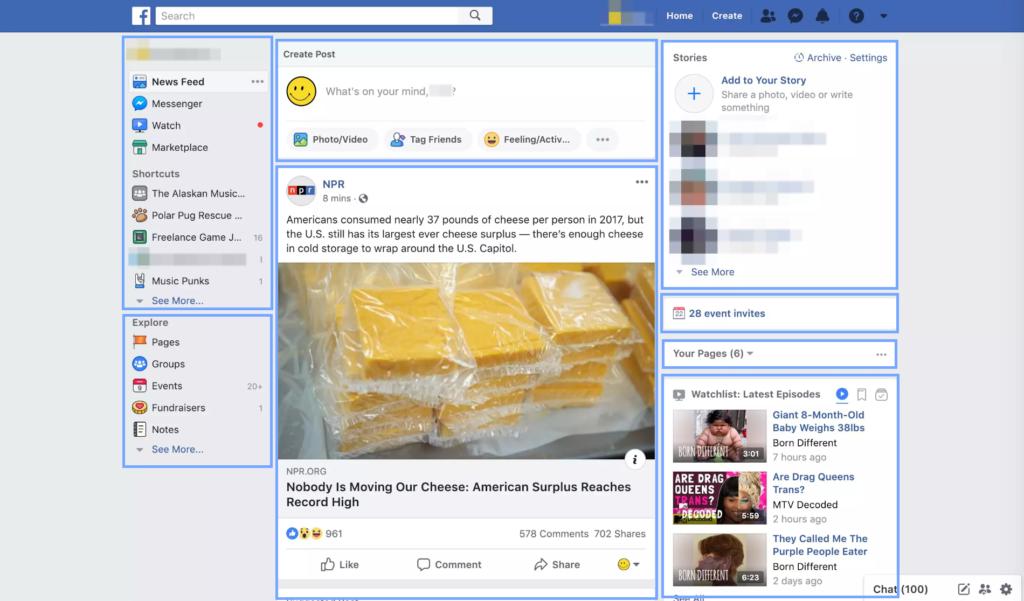 Screenshot showing how Facebook homepage loads in chunks.
