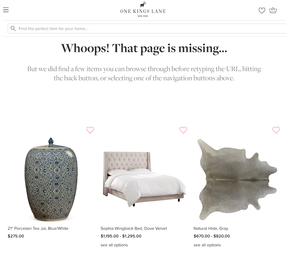 Example of a 404 page with product recommendations.