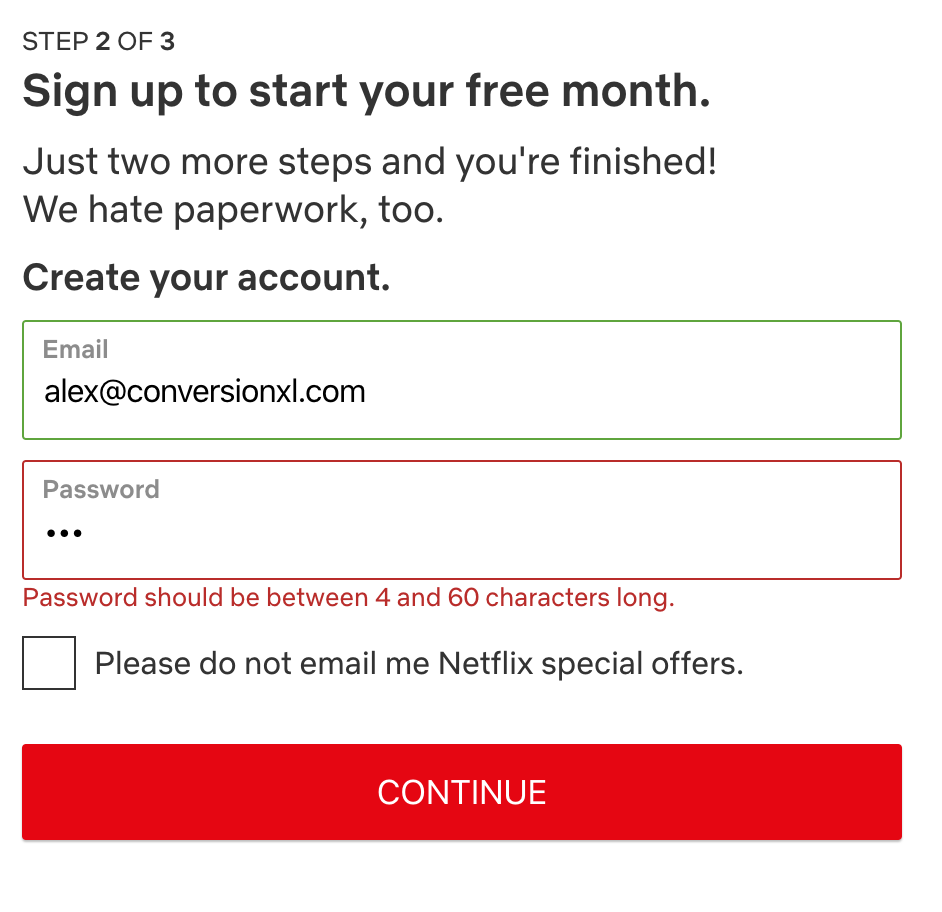 Example of inline form validation from Netflix.