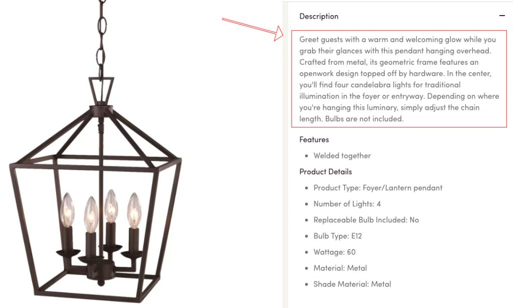 A product copy example from Wayfair, by Sumo.